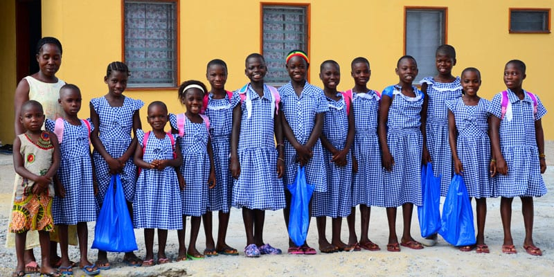 Orphans Group in School Uniforms