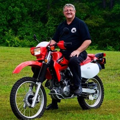 James George on Jungle Rider Bike